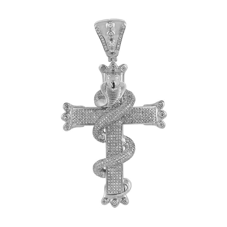 Snake on Cross Pendant white gold