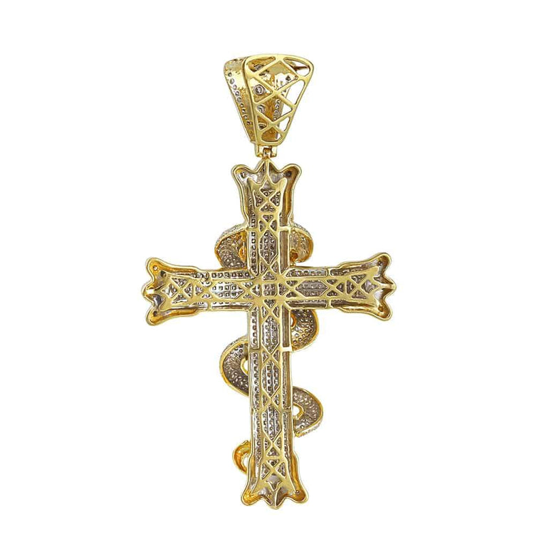 Snake on Cross Pendant yellow gold