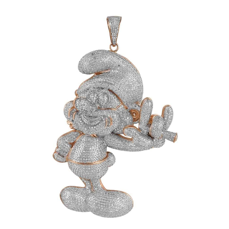 Iced Out Smurf Pendant for Men rose gold