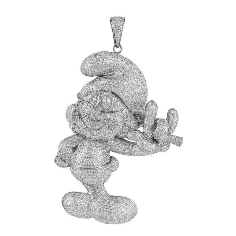 Iced Out Smurf Pendant for Men white gold