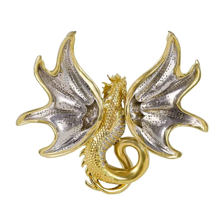 Flying Dragon Pendant yellow gold