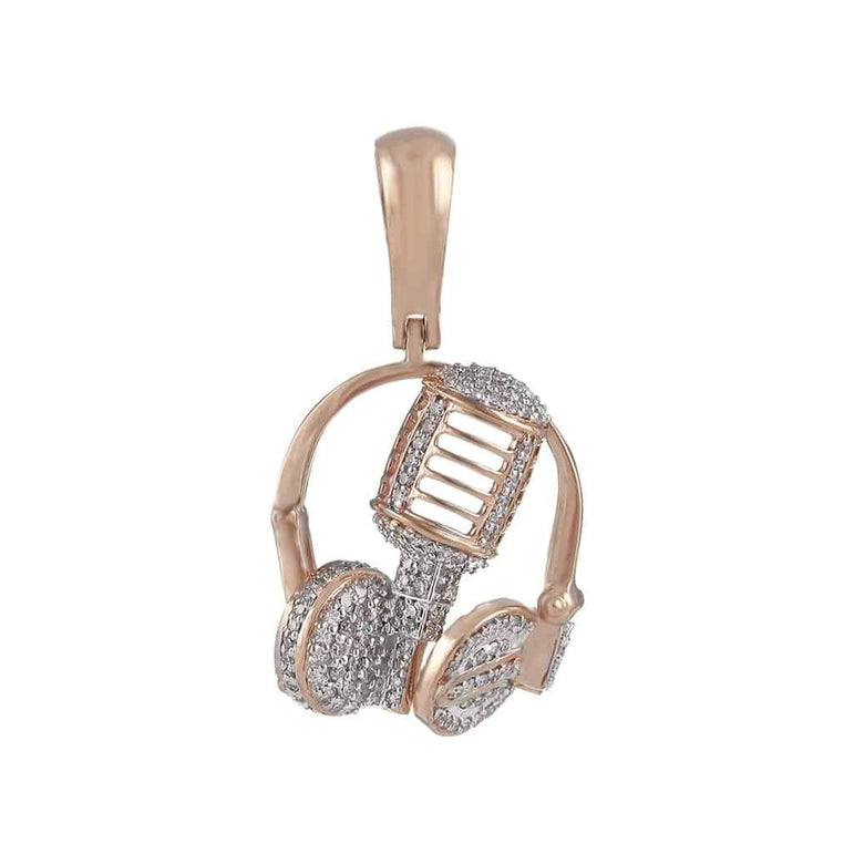 Headphone Necklace Pendant rose gold