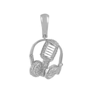 Headphone Necklace Pendant white gold