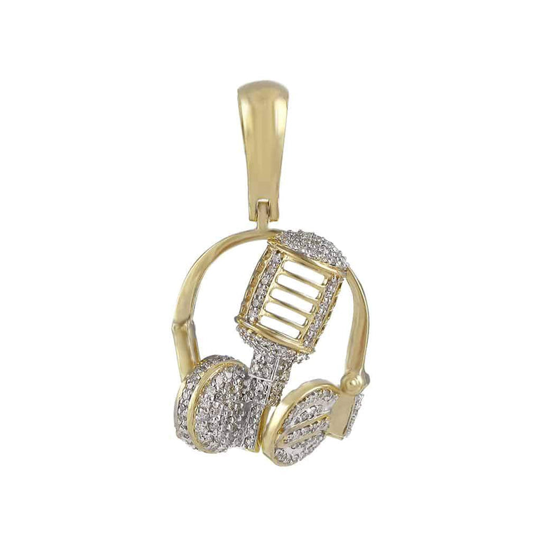 Headphone Necklace Pendant yellow gold