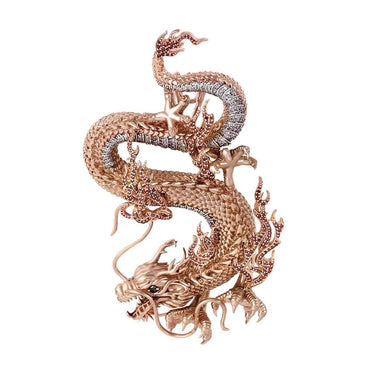 Chinese Dragon Necklace Pendant 14k Gold 3.01ct Diamond by Fehu Jewel
