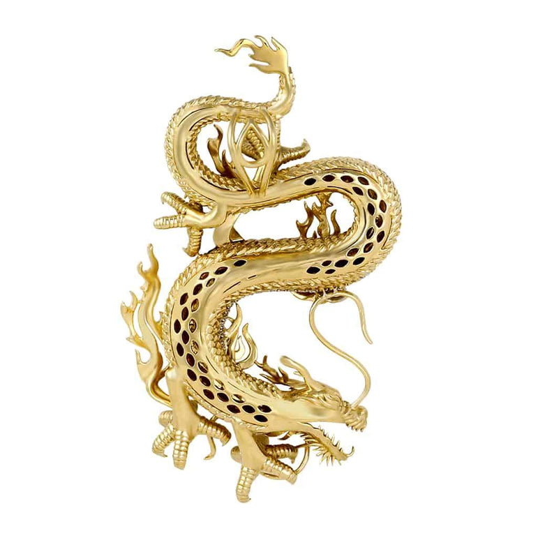 Chinese Dragon Necklace Pendant 10k Gold 3.01ct Diamond by Fehu Jewel