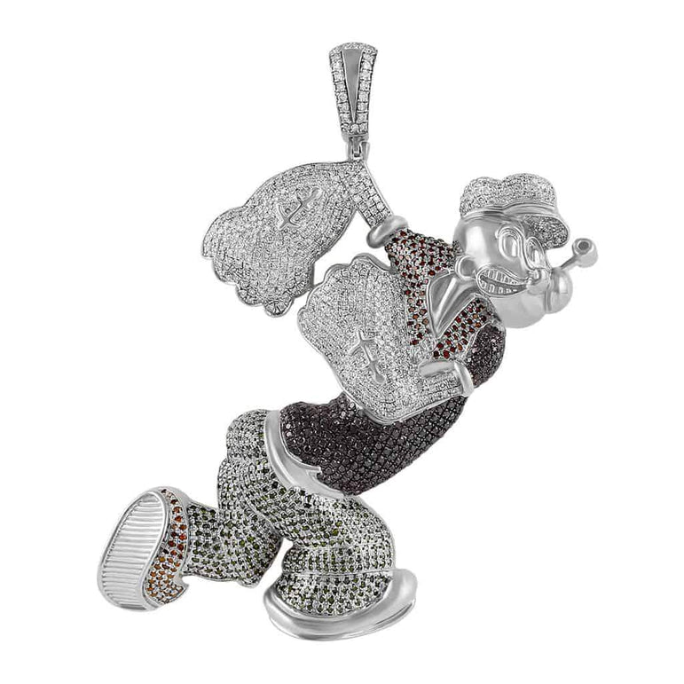 Popeye Cartoon Diamond Pendant white gold