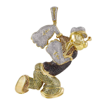 Popeye Cartoon Diamond Pendant yellow gold