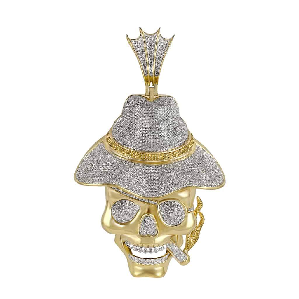 Skull Cigar Hat Necklace for Men yellow gold