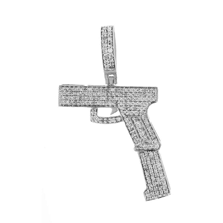 Gun Diamond Pendant white gold
