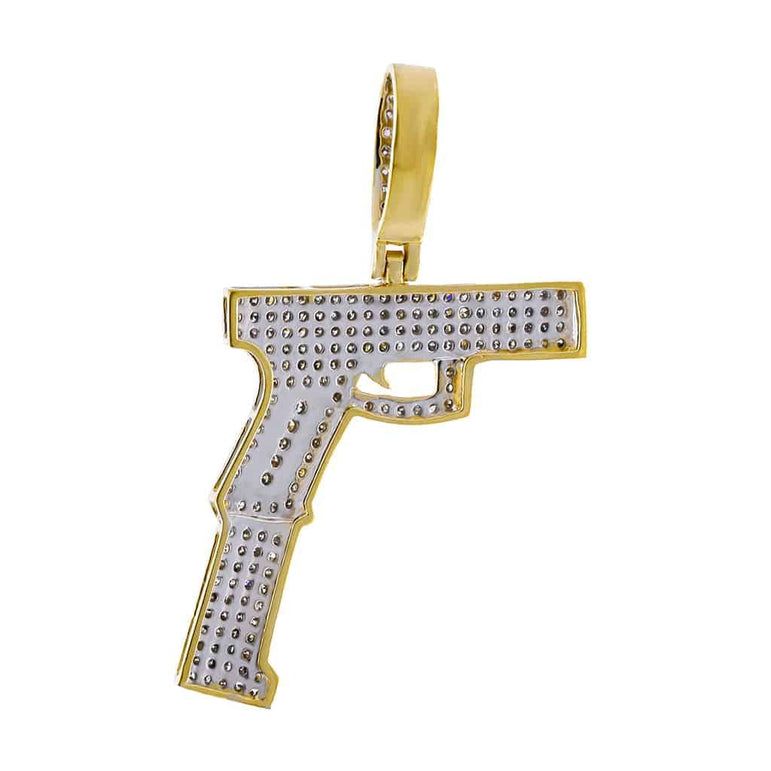 Gun Diamond Pendant yellow gold