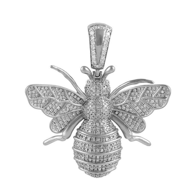 Honey Bee Pendant Necklace white gold