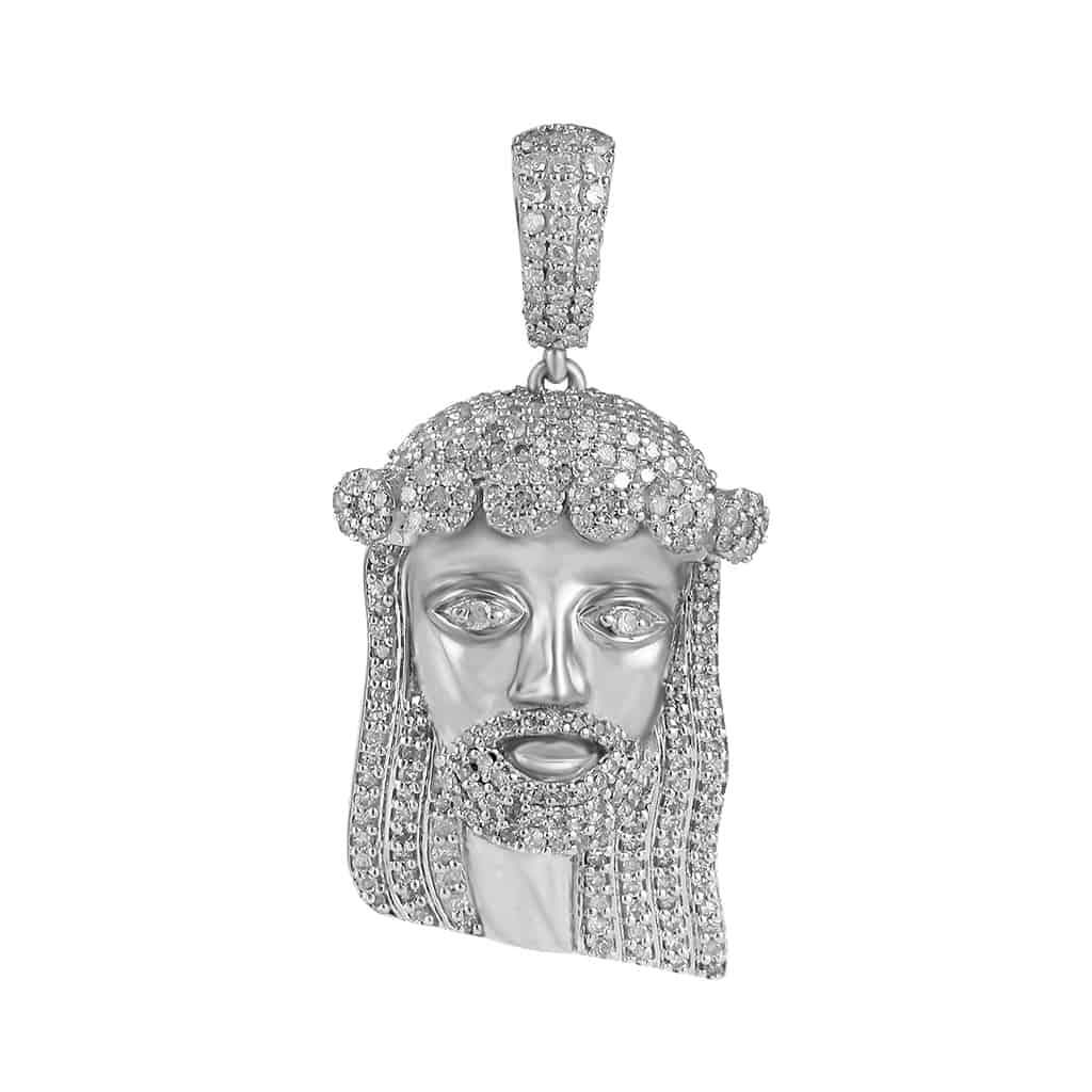 Jesus Head Diamond Pendant white gold