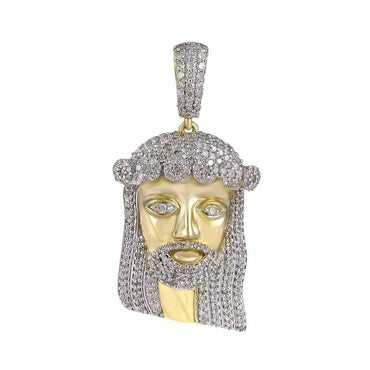 Jesus Head Diamond Pendant yellow gold