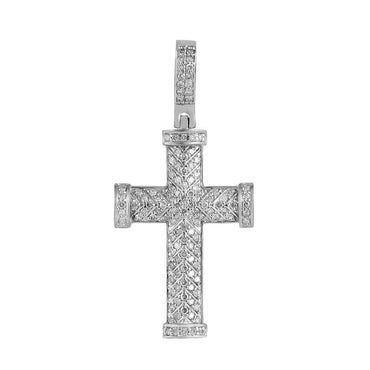 Men's Cross Necklace Pendant white gold