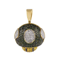 Green Diamonds Mushroom Pendant yellow gold