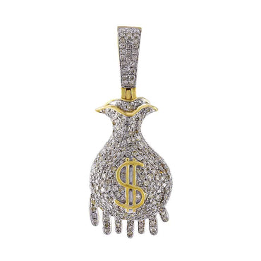 Dripping Money Bag Pendant yellow gold