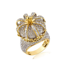 Gold 3d Iced Out Crown Ring With 4.37 Cts. Round Cut Diamond For Men's By Fehu Jewel