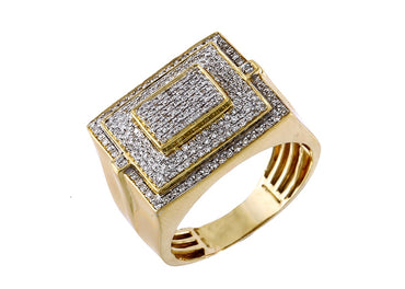 Ring for Men 10k Gold 0.51 ct Round Diamond by Fehu Jewel