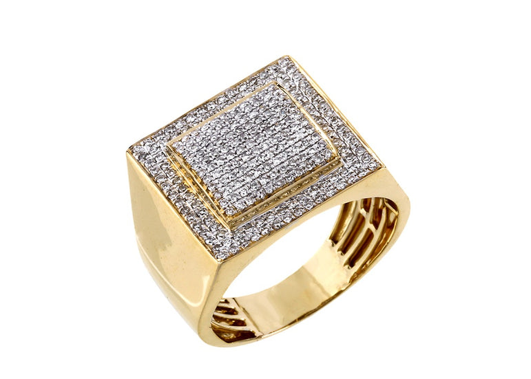 Ring for Men 10k Gold 0.46 ct Round Diamond by Fehu Jewel