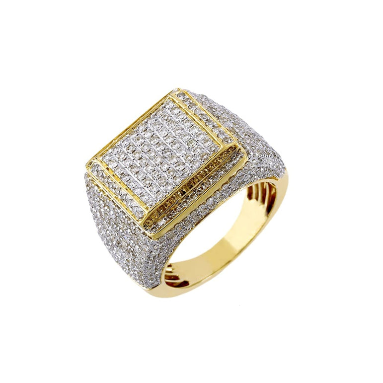 3.08 Cts. Diamond Square Design Men's Round Ring By Fehu Jewel
