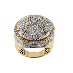 Gold 3.30 Cts. Diamond Cluster Men's Round Ring By Fehu Jewel