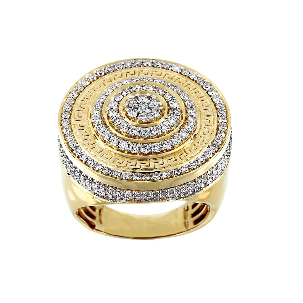 2.09 Cts Diamond Men's Gold Round Shape Ring By Fehu Jewel