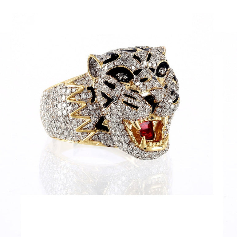 2.20 Cts. Diamond Tiger Face Men's Ring By Fehu Jewel