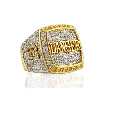 """ DANGER ""Personalized 3D Finger Name Men's Ring With 2.07 Cts. Round Diamonds"
