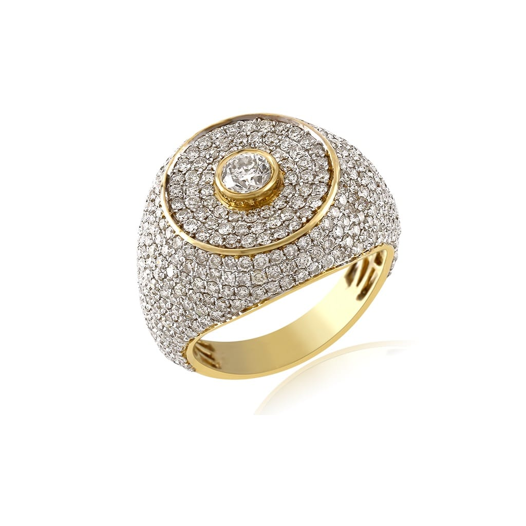 3.95 Cts. Diamond Gold Finish Big Rocks Custom Men's Ring By Fehu Jewel