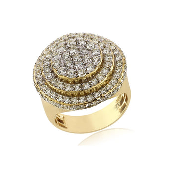 3.19 Cts. Diamond Cluster Men's Round Ring By Fehu Jewel