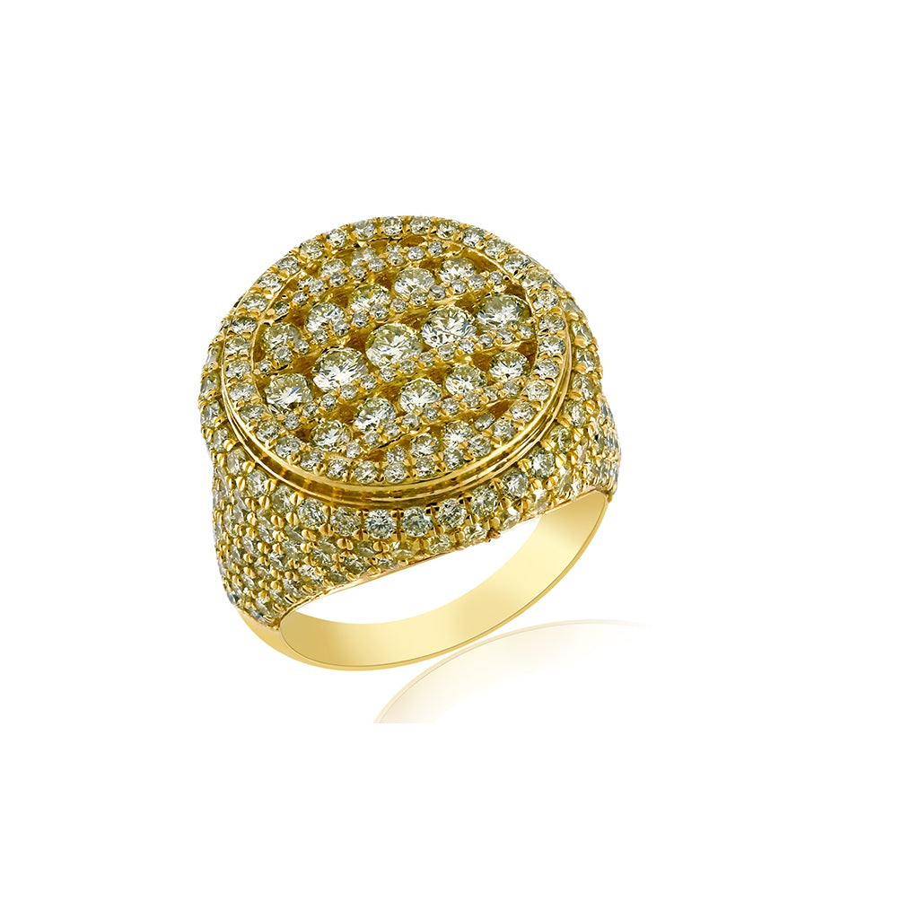 Unique Gold Men's 5.27 Cts. Diamond Large Round Ring by Fehu Jewel