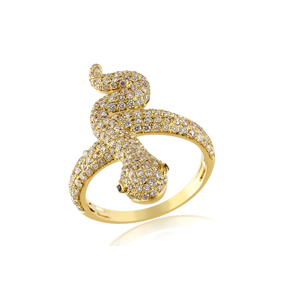 Gold Snake Ring With  1.26 Cts. Diamonds Men's Ring By Fehu Jewel