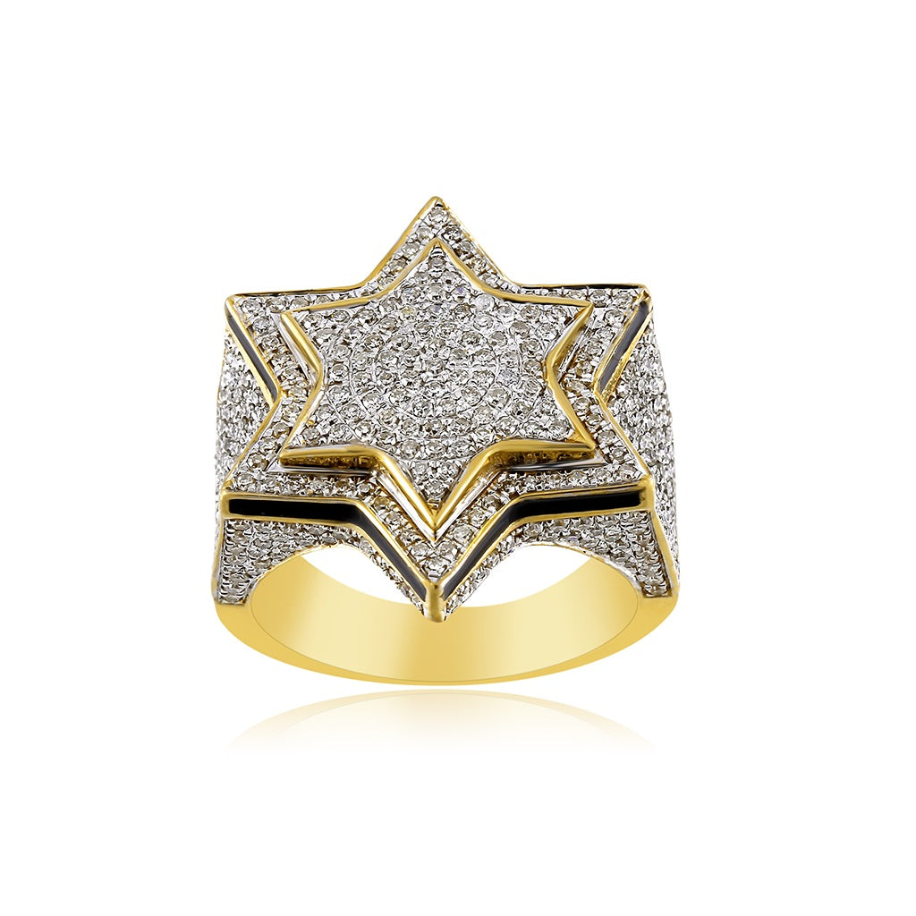 1.19 Cts. Diamond Star Design Hip Hop Diamond Men's Ring By Fehu Jewel