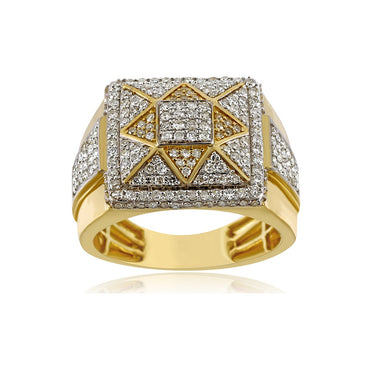 1.35 Cts. Natural Diamonds Gold Men's Pinky Ring By Fehu Jewel