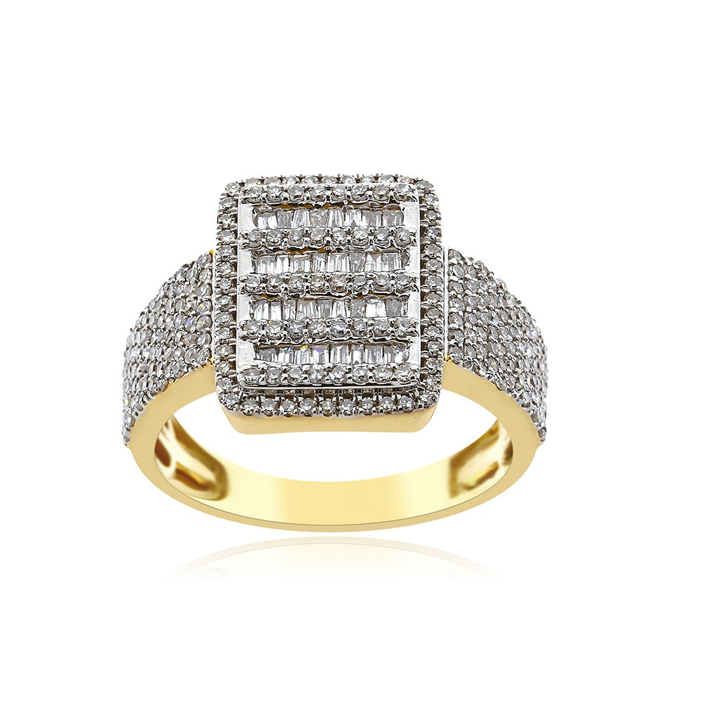 Square Shape Gold With 1.24 Ct. Baguette & Round Diamond Men's Ring