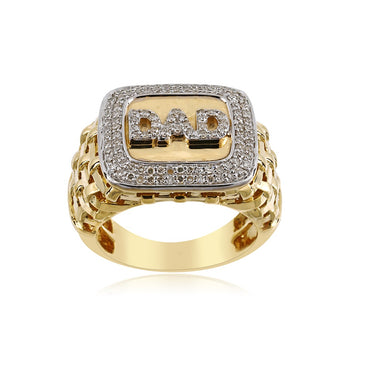 """ DAD ""Personalized 3D Finger Name Men's Ring With 0.60 Cts. Round Diamonds"