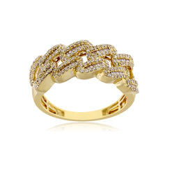 0.75 Cts Round & Baguette Diamond Cuban Link Ring Men's Ring