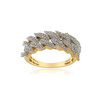 Cuban Link Ring With 0.71 Ct. Natural Round Diamond Men's Ring