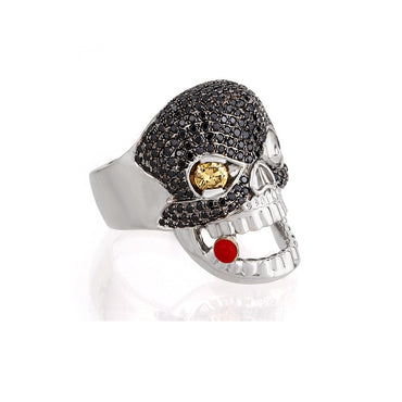 Gold Skull Ring with 1.92 Cts. Color Diamonds Men's Ring By Fehu Jewel
