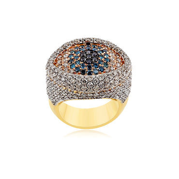 4.15 Cts. Round Diamond Gold Men's Ring By Fehu Jewel