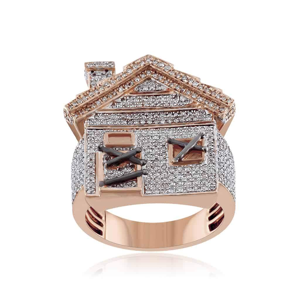 Trap House Ring for Men rose gold