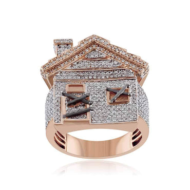Mini Trap House Diamond Hip Hop Ring rose gold