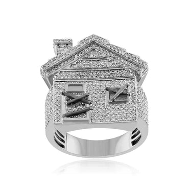 Mini Trap House Diamond Hip Hop Ring white gold