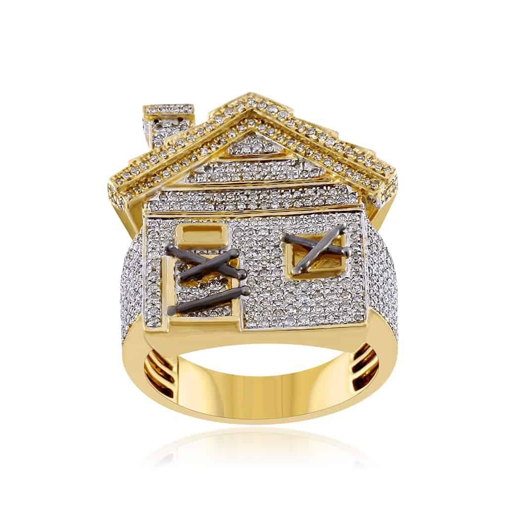 Mini Trap House Diamond Hip Hop Ring yellow gold
