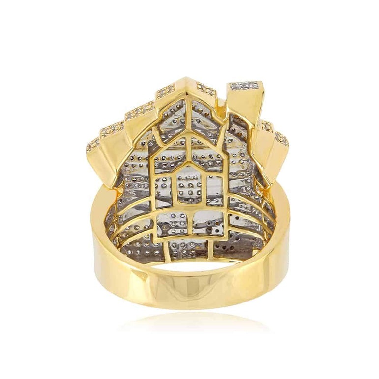 Trap House Ring for Men yellow gold