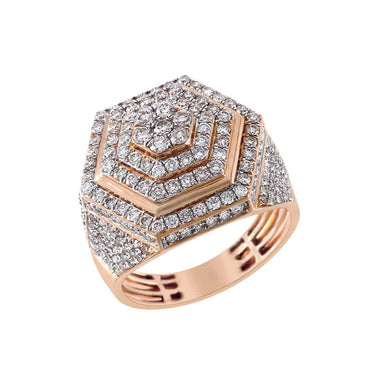 Hexagon Ring for Men rose gold