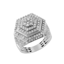 Hexagon Ring for Men white gold