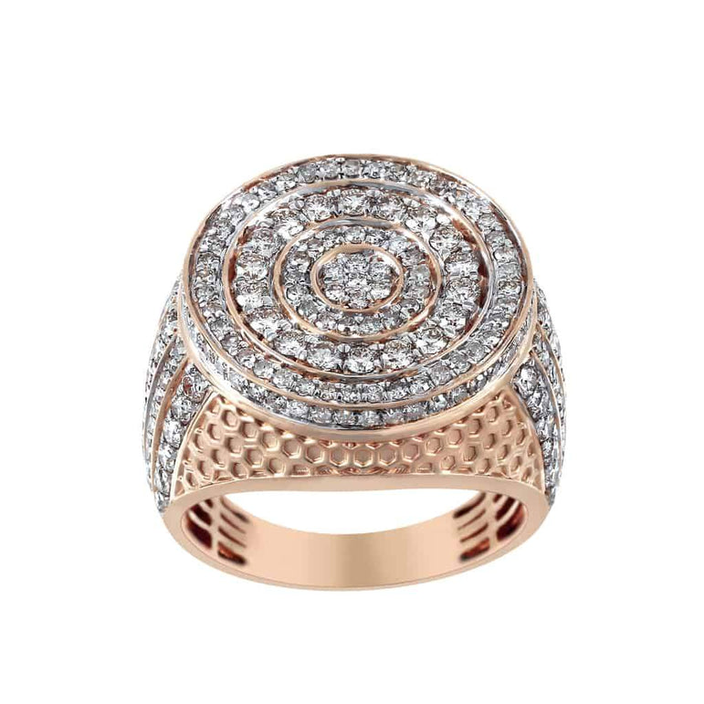 Beehive Pattern Round Halo Diamond Ring for Men rose gold