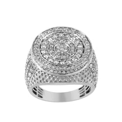Beehive Pattern Round Halo Diamond Ring for Men white gold